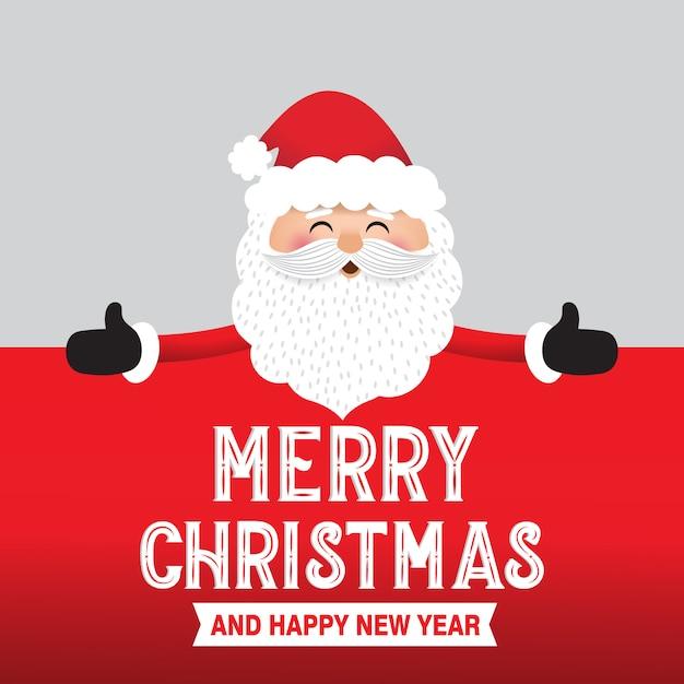 Święty Mikołaj Z Dużym Szyldem Premium Wektorów