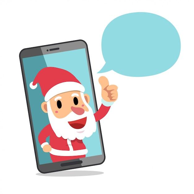 Święty Mikołaj Z Smartphone I Mowa Gulgoczemy Premium Wektorów