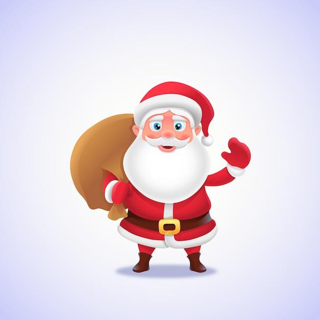 Święty Mikołaj Z Torbą Na Prezent Premium Wektorów