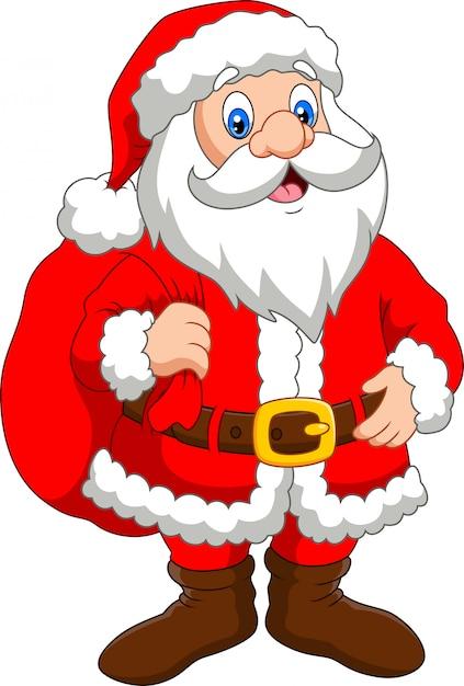 Święty Mikołaj Z Workiem Prezentów Premium Wektorów