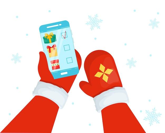 Święty Mikołaj Za Pomocą Smartfona. Premium Wektorów