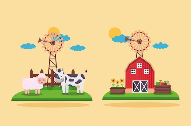 Świeża Kreskówka Farmy Darmowych Wektorów