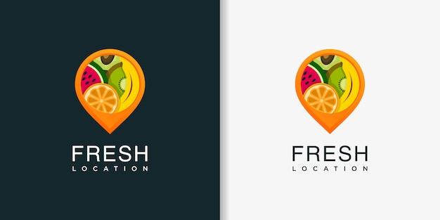 Świeża Lokalizacja Logo Z Nowoczesnym Szablonem W Stylu Abstrakcyjnym, świeże, Owoce, Lokalizacja, Pinezka Premium Wektorów