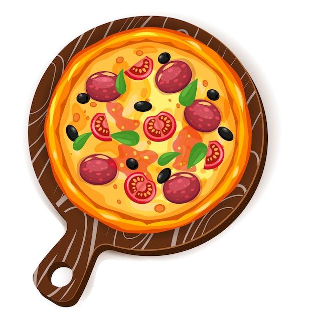 Świeża pizza z różnymi składnikami pomidor, ser, oliwka, kiełbasa, bazylia Premium Wektorów