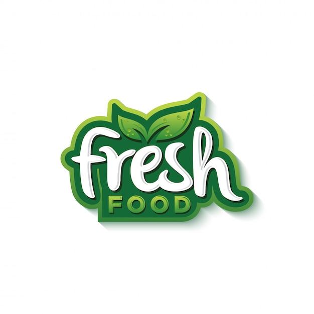 Świeża żywność typografia logo projekt premium wektor Premium Wektorów