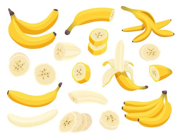 Świeże Owoce Banana Na Białym Tle. Premium Wektorów
