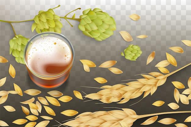 Świeże piwo w zlewce szklanej, kłosy jęczmienia lub pszenicy i ziarna rozpraszające się, kwitnące chmiel Darmowych Wektorów