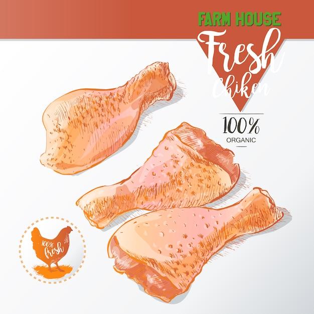 Świeże udka z kurczaka Premium Wektorów