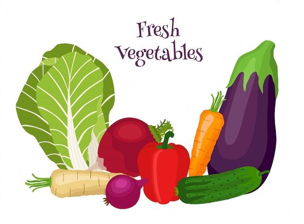 Świeże Warzywa Z Bok Choy, Bakłażanem, Marchewką, Ogórkiem, Cebulą, Papryką. Premium Wektorów