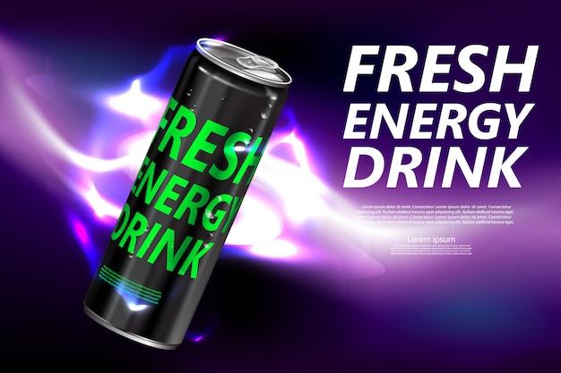 Świeży Napój Energetyczny W Puszce Plakat Produktu Premium Wektorów