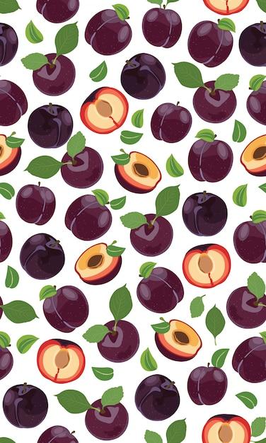 Świeży Purpurowy śliwkowy Bezszwowy Wzór Premium Wektorów