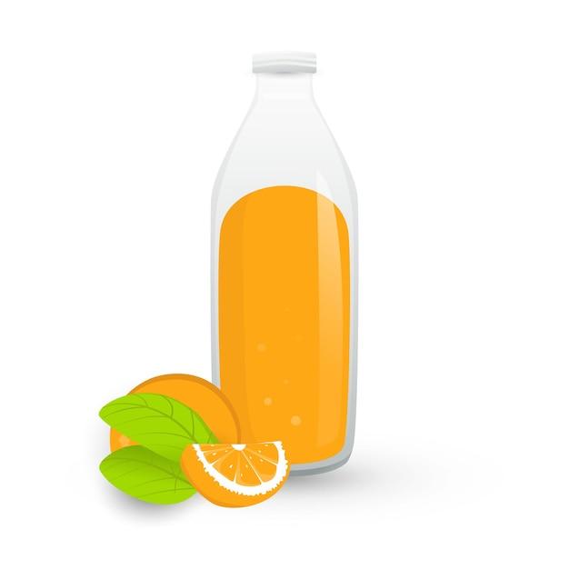Świeży Sok Pomarańczowy W Butelce Premium Wektorów