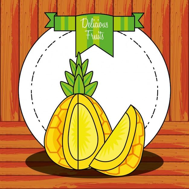 Świeży zdrowy owoc ananasa Premium Wektorów
