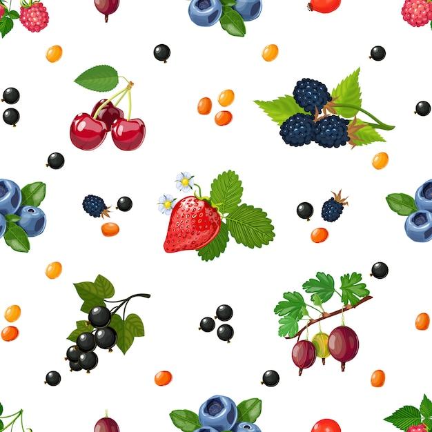 Świeżych jagod bezszwowy kolorowy wzór Darmowych Wektorów