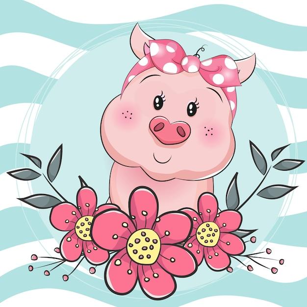 Świnia kreskówka z kwiatkiem na niebieskim tle Premium Wektorów