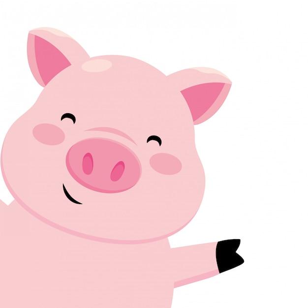 Świnia Uśmiecha Się Premium Wektorów
