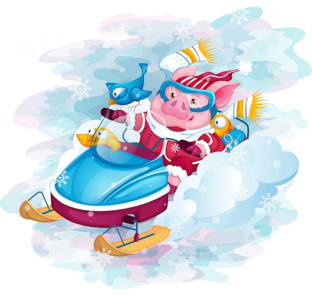 Świnka i ptaki jeżdżą szybkim skuterem śnieżnym. Premium Wektorów