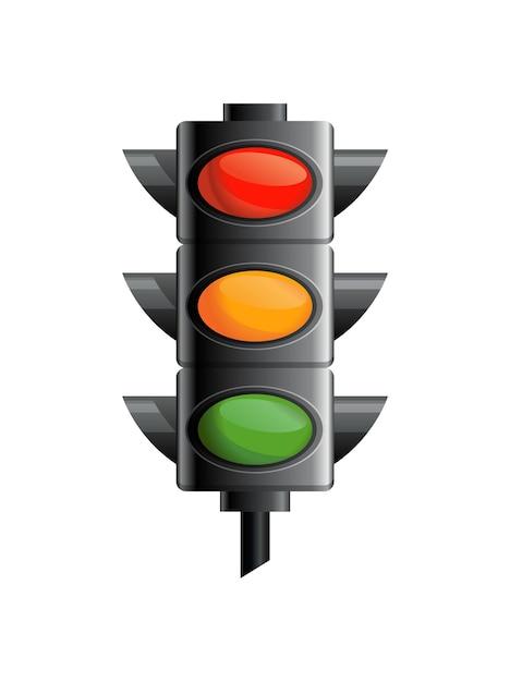 Sygnalizacja świetlna W Kolorze Czerwonym, żółtym I Zielonym. Premium Wektorów