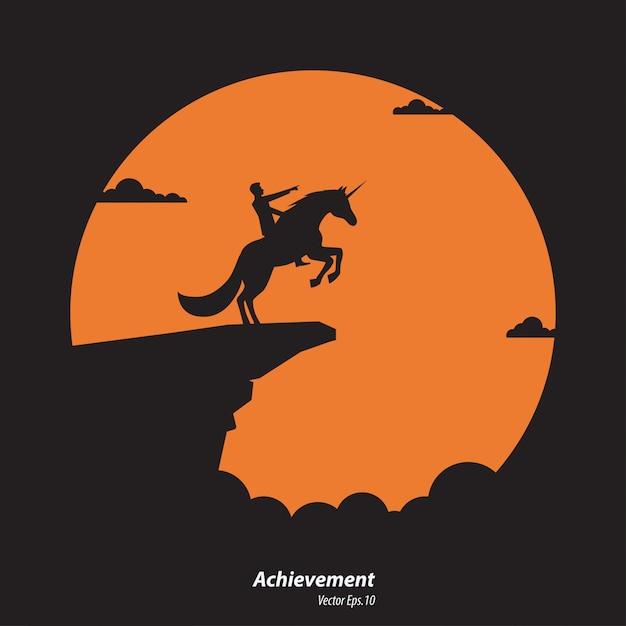 Sylwetka Biznesmen I Jednorożec Koń Premium Wektorów