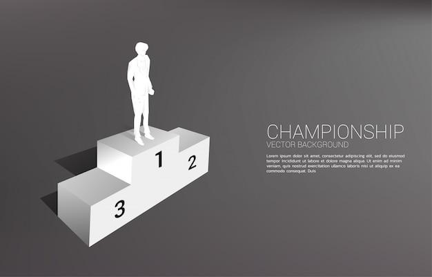 Sylwetka Biznesmen Stojący Na Pierwszym Miejscu Podium. Koncepcja Biznesowa Zwycięzcy I Sukcesu Premium Wektorów