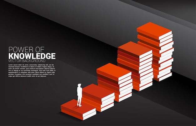 Sylwetka biznesmena ruch krzyżować ścianę z krokiem od książkowej sterty. Premium Wektorów