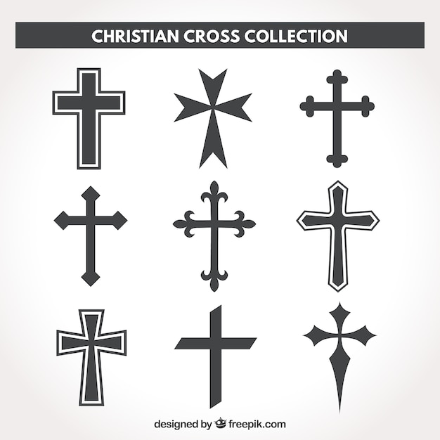 Sylwetka chrześcijańskiej kolekcji krzyżowej Darmowych Wektorów
