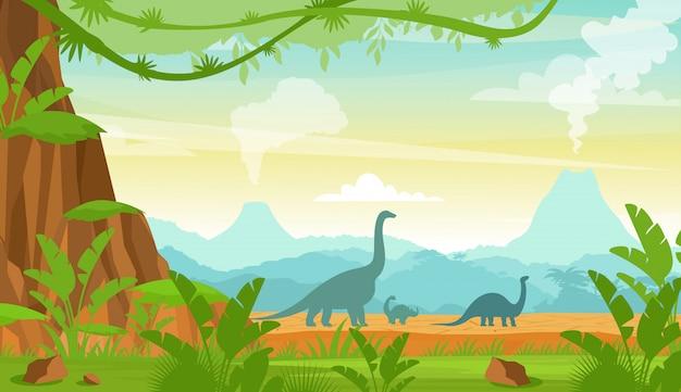 Sylwetka Dinozaurów W Krajobrazie Okresu Jurajskiego Z Górami, Wulkanem I Roślinami Tropikalnymi W Stylu Płaskiej Kreskówki. Premium Wektorów