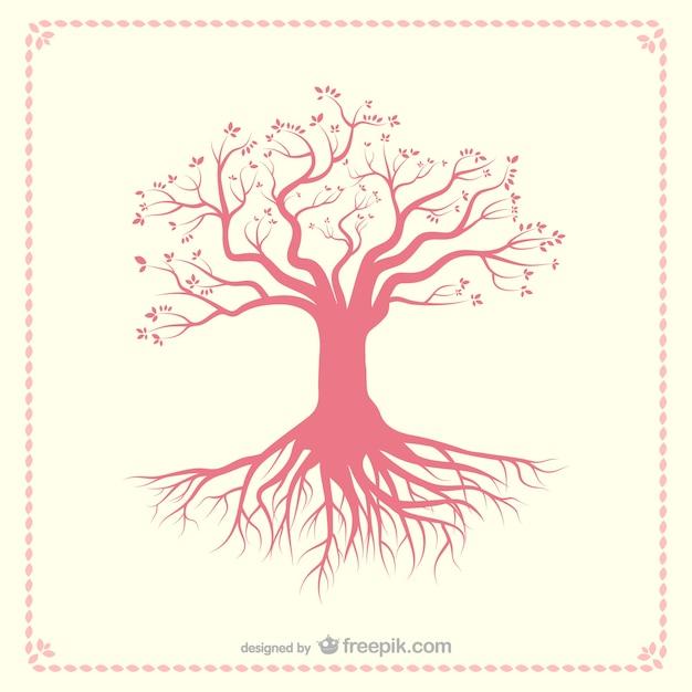 Sylwetka Drzewa Z Korzeniami Darmowych Wektorów