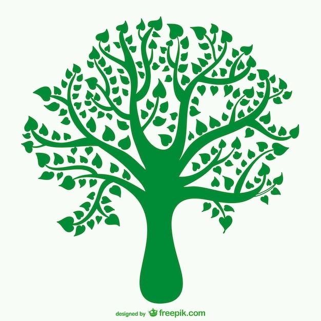 Sylwetka drzewa z liśćmi w kształcie serca Darmowych Wektorów