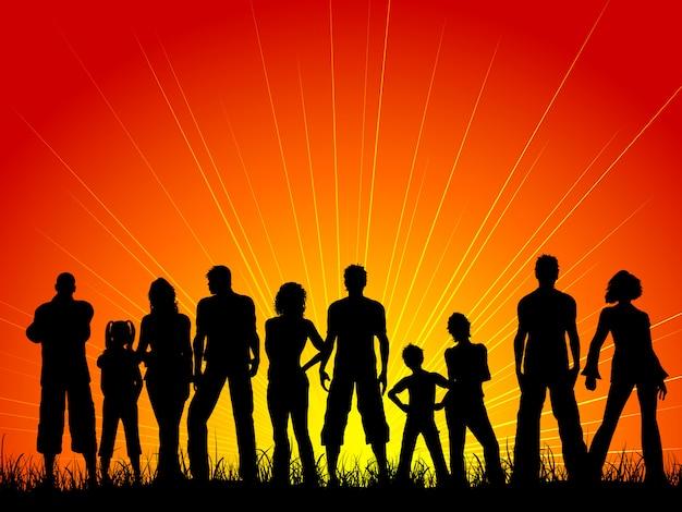 Sylwetka Dużego Tłumu Ludzi Przed Zachodem Słońca Niebo Darmowych Wektorów