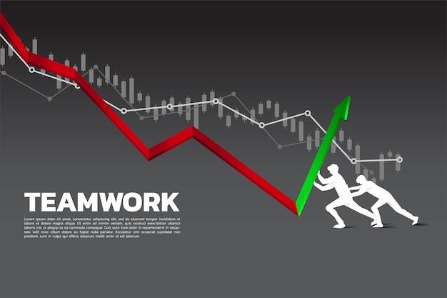 Sylwetka dwa biznesmen pcha wykres up kierunek Premium Wektorów