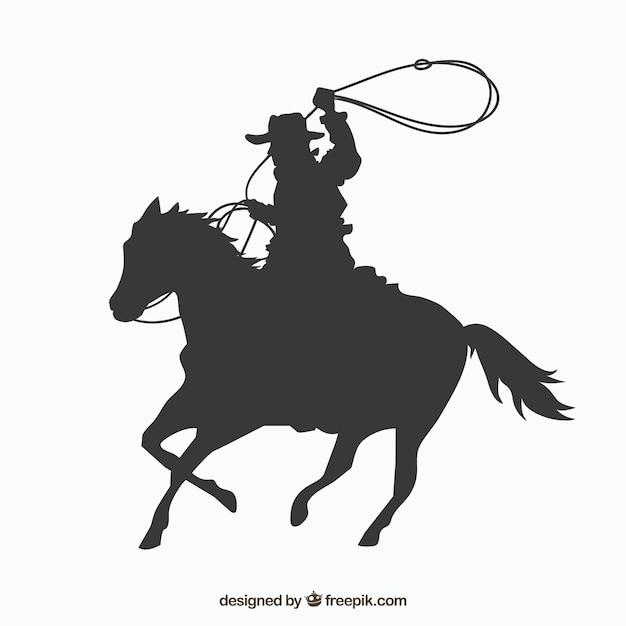 Sylwetka Kowboj Koniu Darmowych Wektorów