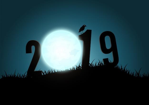 Sylwetka Liczb 2019 Góry Z Księżycem. Premium Wektorów