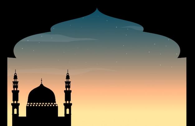 Sylwetka meczetu o zmierzchu Darmowych Wektorów