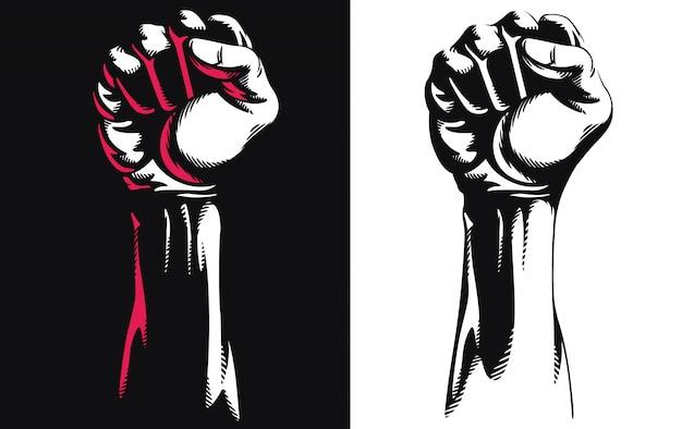 Sylwetka Podniesiona Pięść Ręcznie Zaciśnięty Protest Poncz Ikona Logo Ilustracja Na Białym Tle Premium Wektorów