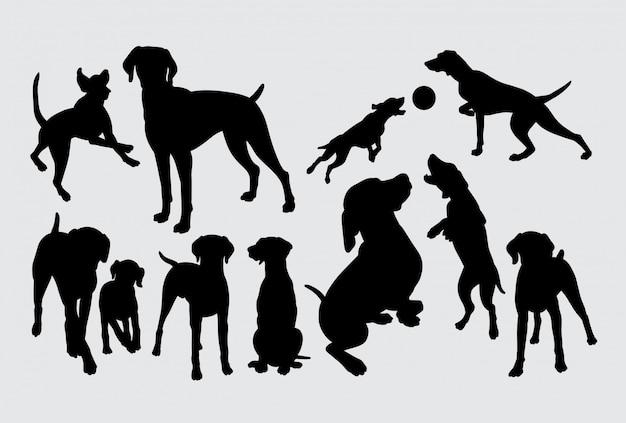 Sylwetka Psa Grającego Premium Wektorów