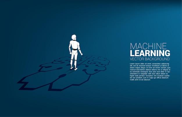 Sylwetka Robota Stojącego Na Graficznej Ikonie Mózgu Na Podłodze. Koncepcja Inwestycji W Sztuczną Inteligencję. Premium Wektorów