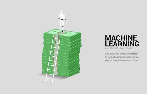 Sylwetka Robota Stojącego Na Stosie Banknotów Z Drabiną. Koncepcja Inwestycji W Sztuczną Inteligencję. Premium Wektorów