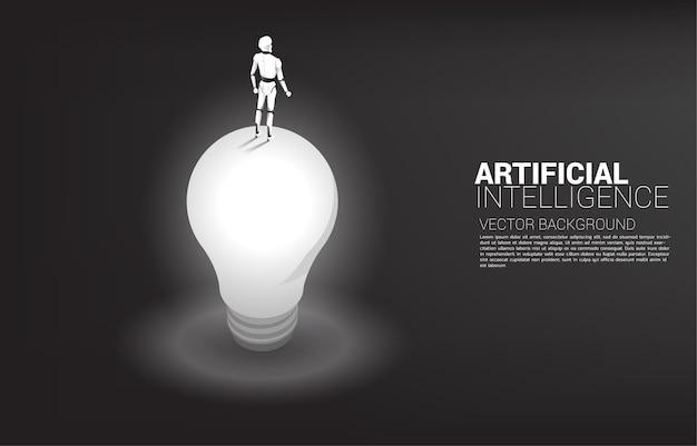 Sylwetka Robota Stojącego Na żarówce. Koncepcja Inwestycji W Sztuczną Inteligencję. Premium Wektorów