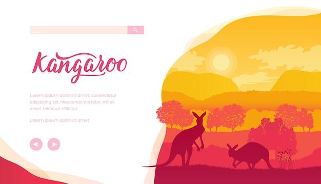 Sylwetki Kangurów, Drzew, Wzgórz Podczas Zachodu Słońca. Australijska Przyroda Ze Zwierzętami I Roślinami. Premium Wektorów