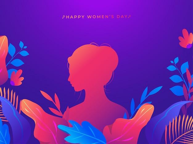 Sylwetki Kobieta Z Kolorową Naturą Na Purpurowym Tle Dla Szczęśliwego Kobieta Dnia świętowania Pojęcia. Premium Wektorów
