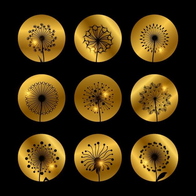 Sylwetki Kwiatów Mniszka Lekarskiego Na Złoty Premium Wektorów