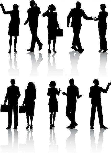 Sylwetki Ludzi Biznesu Darmowych Wektorów