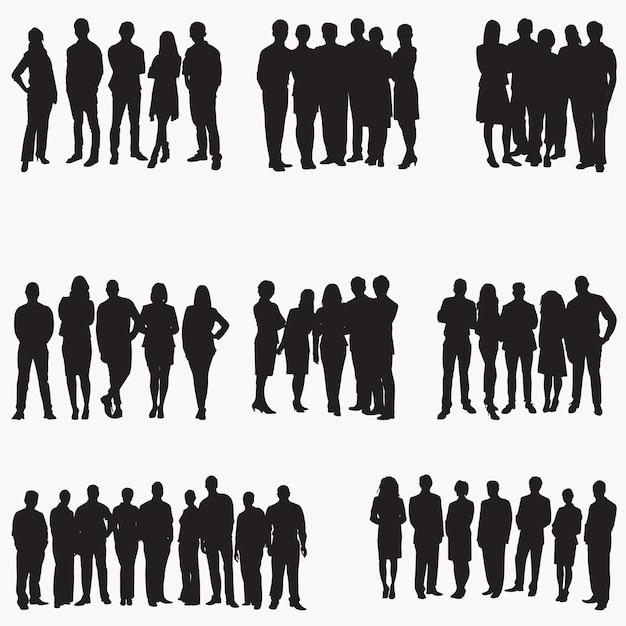 Sylwetki Ludzi Biznesu Premium Wektorów