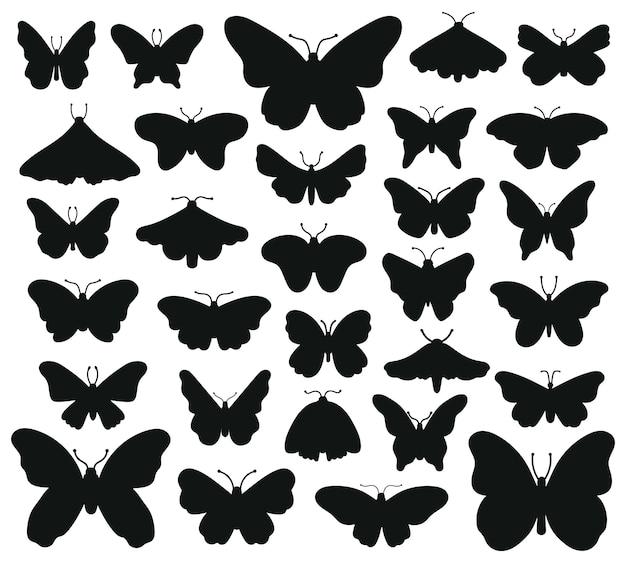 Sylwetki Motyli. Ręcznie Rysowane Motyl, Rysowanie Grafiki Owadów. Czarny Rysunek Sylwetki Motyle Zestaw Ilustracji. Owad Motyl Czarna Sylwetka, Ręcznie Rysowane Formularz Premium Wektorów