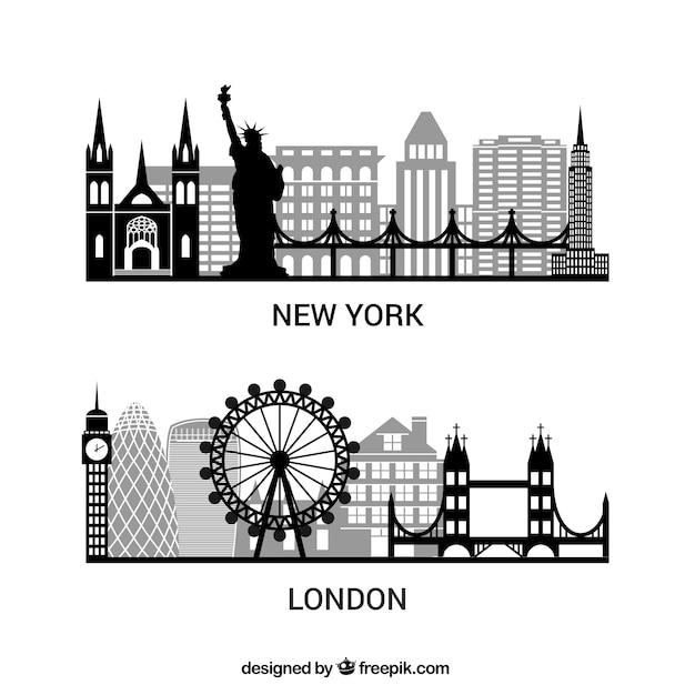 Sylwetki nowym jorku i londynie paczka Darmowych Wektorów