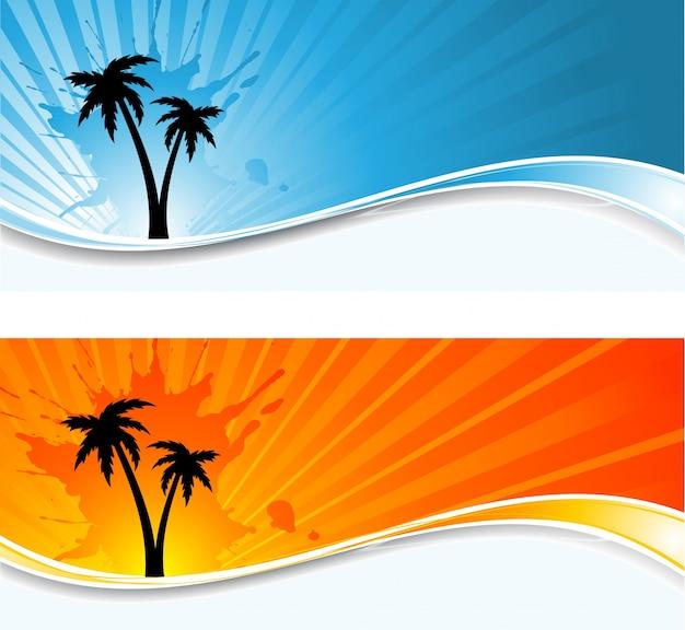 Sylwetki Palm Na Grunge Tła Sunburst Darmowych Wektorów
