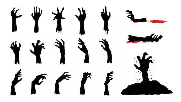 Sylwetki rąk zombie w innej akcji w kolekcji. Premium Wektorów