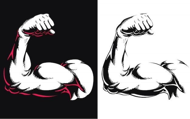 Sylwetki Ręki Bicepsa Mięsień Napina Bodybuilding Gym Sprawności Fizycznej Pozy Zakończenie W Górę Ikona Loga Odizolowywał Ilustrację Na Białym Tle Premium Wektorów