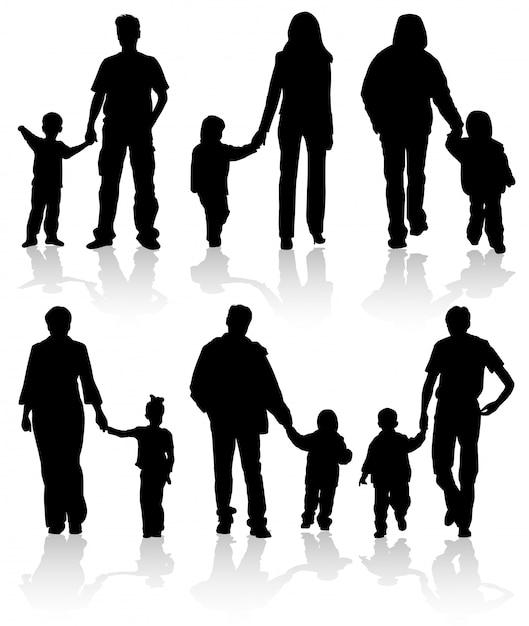 Sylwetki Rodziców Z Dziećmi Premium Wektorów